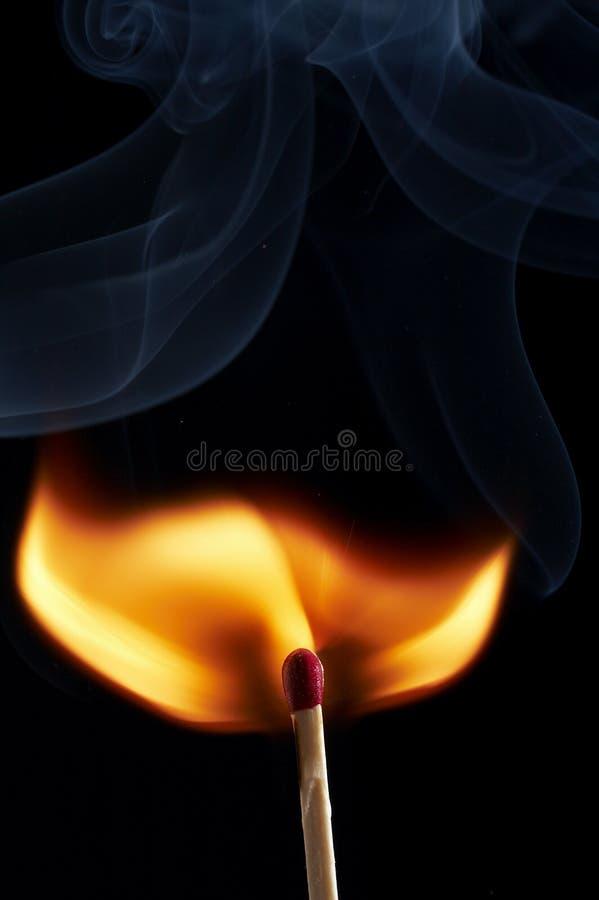 Smoke by fire stock photo