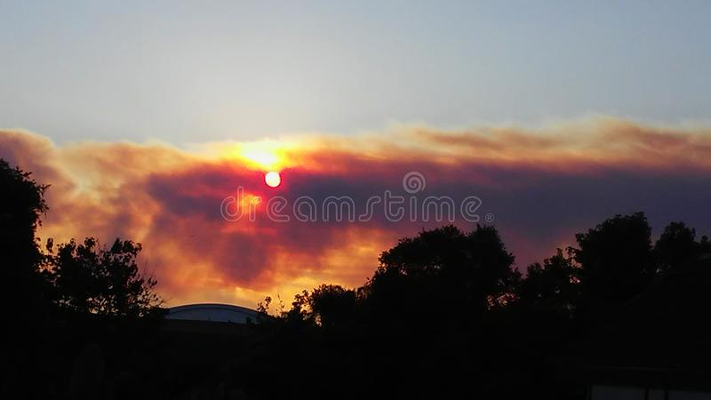 Smoke from a fire. Smoke from a distant fire as seen in Anaheim, California stock photography