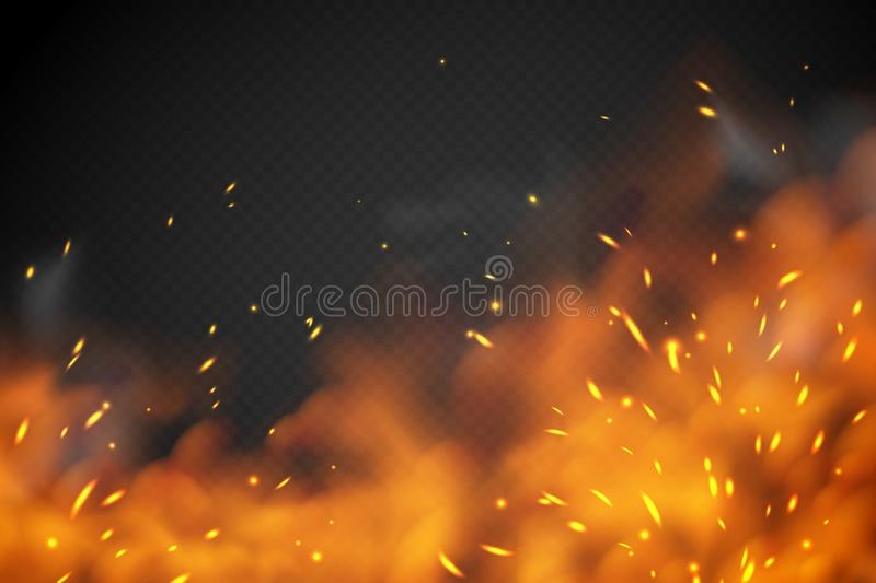 Smoke fire effect. Burning embers red hot metal ignite sparks fiery heat transparent smog texture isolated on black royalty free illustration