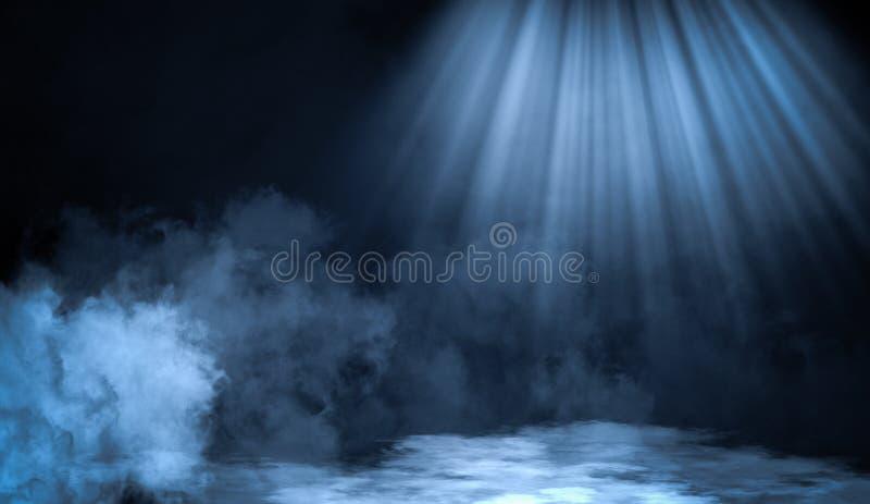 Smoke on the floor .Abstract smoke with light effect. Lighting spotlighting texture overlays. Blue smoke on the floor. Abstract fog with light effect. Lighting royalty free stock images