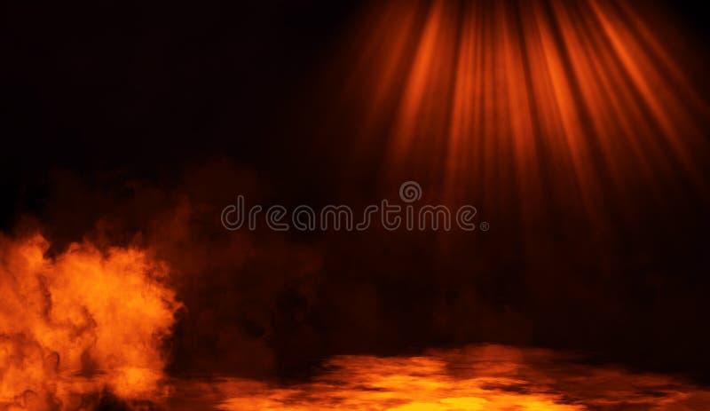 Smoke on the floor .Abstract smoke with light effect. Lighting spotlighting texture overlays. Fire smoke on the floor. Abstract fog with light effect. Lighting stock images