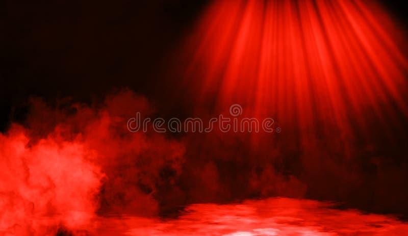 Smoke on the floor .Abstract smoke with light effect. Lighting spotlighting texture overlays. Red smoke on the floor. Abstract fog with light effect. Lighting royalty free stock photos