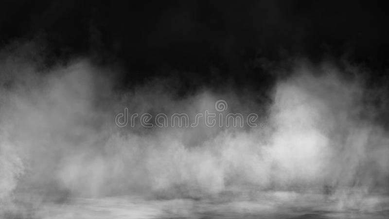 Smoke on floor . Isolated black background . Misty fog effect texture overlays for text or space stock photography