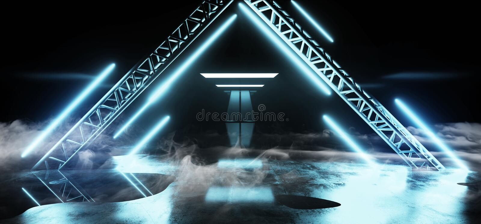 Smoke Fog Empty Neon Studio Construction Triangle Vibrant Sci Fi Wet Stage Dance Lights Glowing Blue White Reflecting On Grunge. Concrete Big White Glowing royalty free illustration
