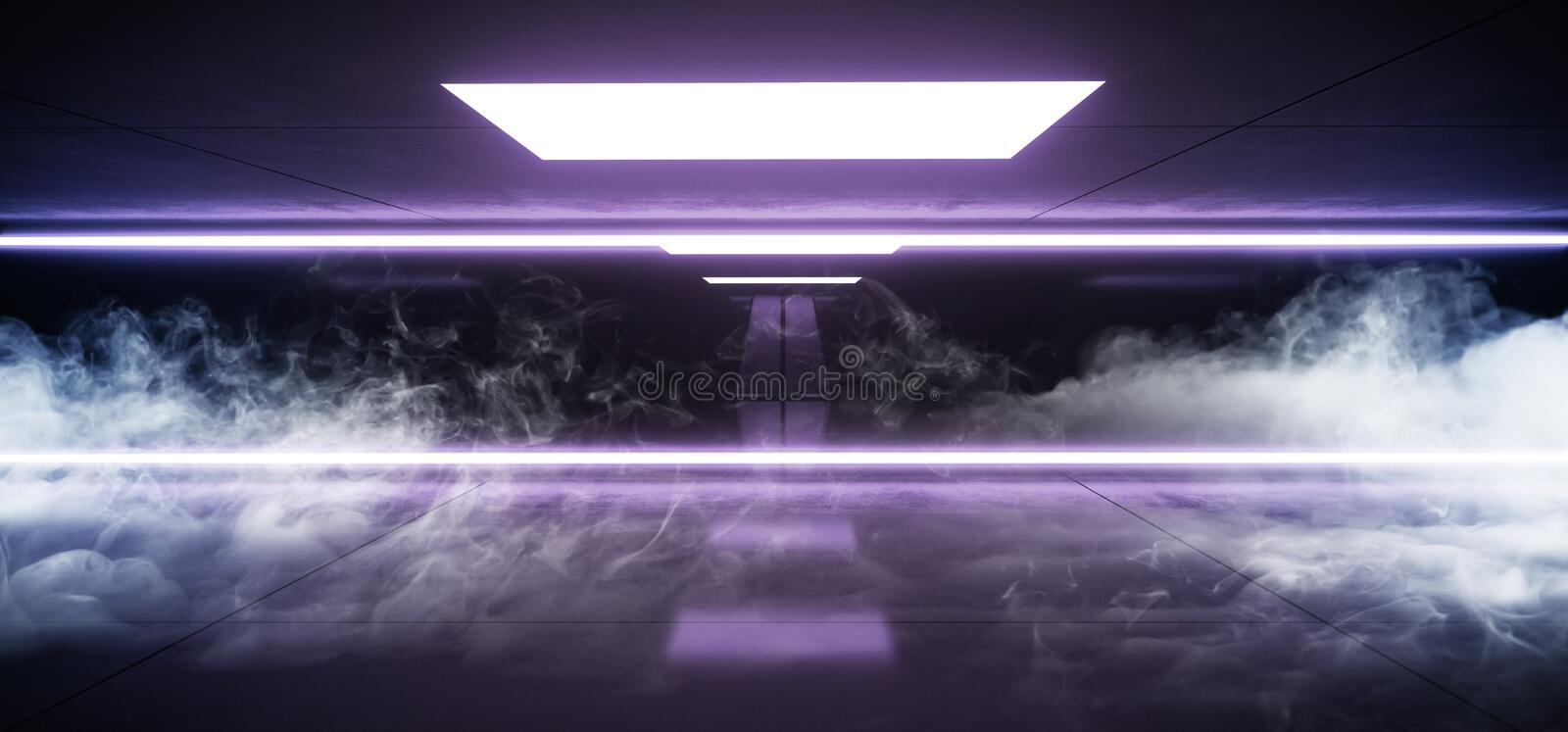 Smoke Fog Horizontal Lines Neon Studio Construction Triangle Vibrant Sci Fi Tiled Stage Dance Lights Glowing Blue Purple. Reflecting On Grunge Concrete Big royalty free illustration