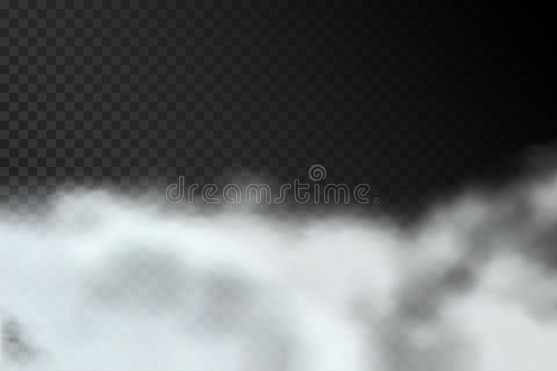 Smoke or fog isolated on transparent background. Realistic clouds of smoke or smog. Vector vector illustration