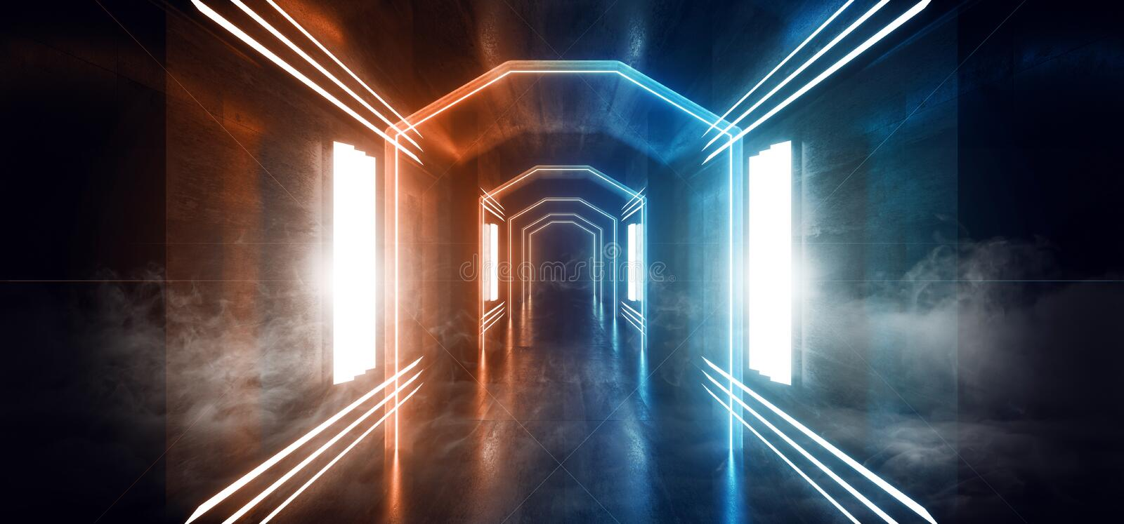 Smoke Fog Mist Big Hall Neon City Retro Modern Virtual Reality Sci Fi Futuristic Blade Runner Orange Blue Concrete Grunge Empty. Background 3D Rendering royalty free illustration