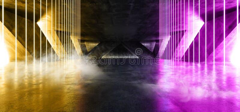 Smoke Fog Sci Fi Fluorescent Vibrant Neon Glowing Purple Orange Pink Lights In Huge Dark Cement Concrete  Grunge Underground. Smoke Fog Sci Fi Fluorescent vector illustration