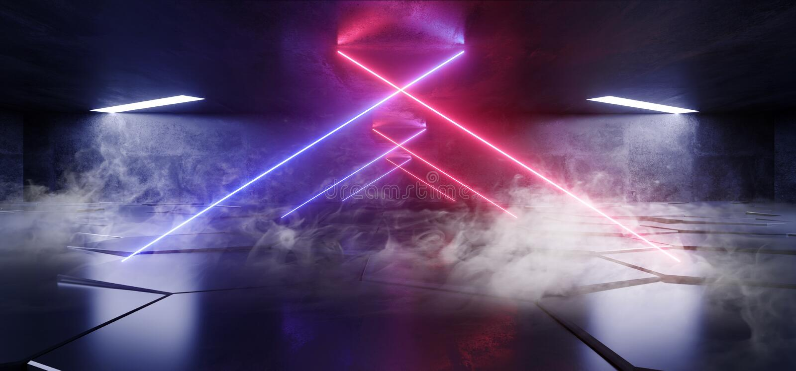 Smoke Fog Virtual Neon Lights Laser Show Purple Blue Vibrant Underground Hallway Entrance  Club Background Reality Glowing Beams. 3D Rendering Illustration royalty free illustration