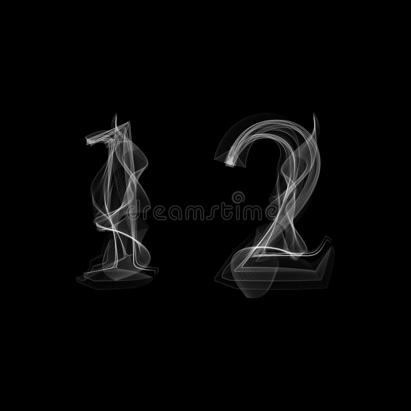 Smoke font. Numbers 1 2 stock images