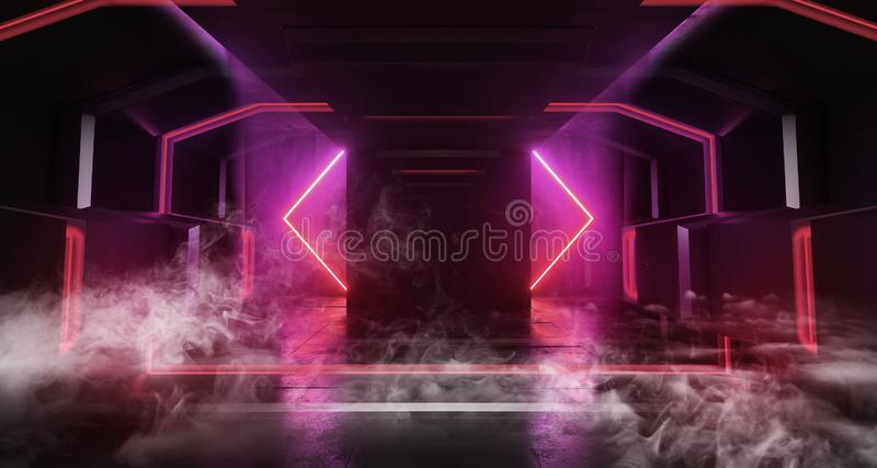 Smoke Futuristic Background Neon Glowing Sci Fi Dark Empty Corridor Tunnel Hall Vibrant Purple Fluorescent Spaceship Cyberpunk stock illustration