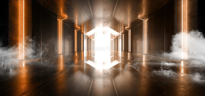 Smoke Futuristic  Sci Fi Laser Neon Shapes Glowing Light Vibrant Orange  Stage NIght Club Background Grunge Concrete Dark Tunnel. Hall Corridor Garage Fashion stock illustration
