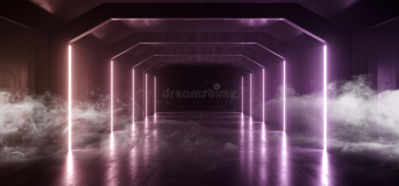 Smoke Futuristic  Sci Fi Laser Neon Shapes Glowing Light Vibrant Purple Orange Stage NIght Club Background Grunge Concrete Dark. Tunnel Hall Corridor Garage stock illustration