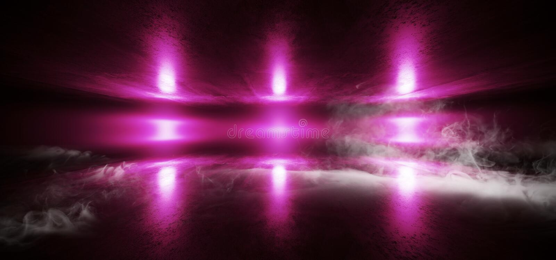 Smoke Futuristic Spaceship Stage Sci Fi Neon Glowing Purple Laser Chaotic Abstract Virtual Fluorescent Dark Grunge Concrete Tunnel royalty free illustration