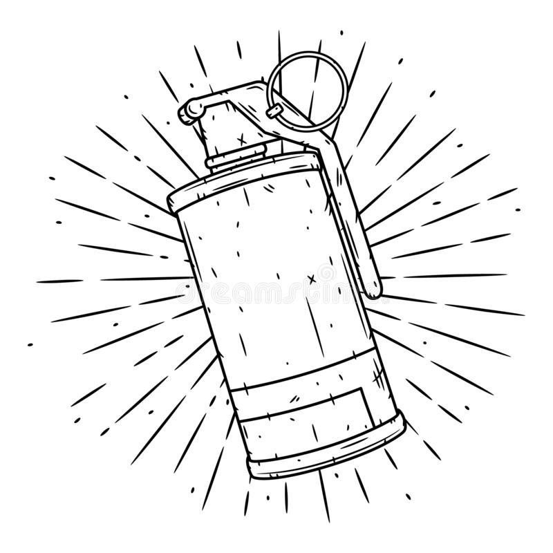 Smoke Grenade. Hand drawn vector illustration with a grenade and divergent rays. Used for poster, banner, web, t-shirt vector illustration