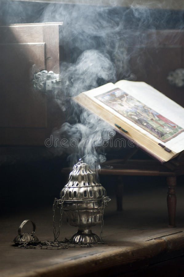 Smoke from incense. At Christian church stock photography