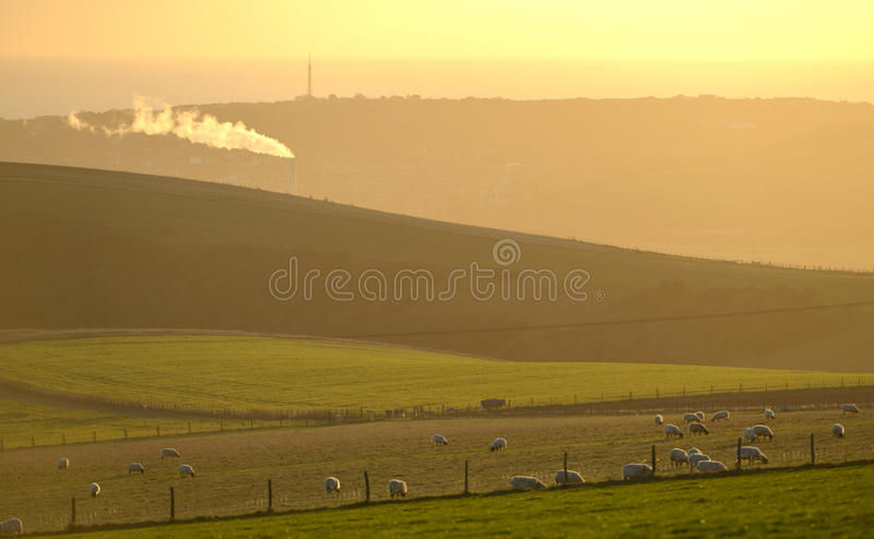 smoke from an industrial incinerator in the midst of the south downs national park royalty free stock image
