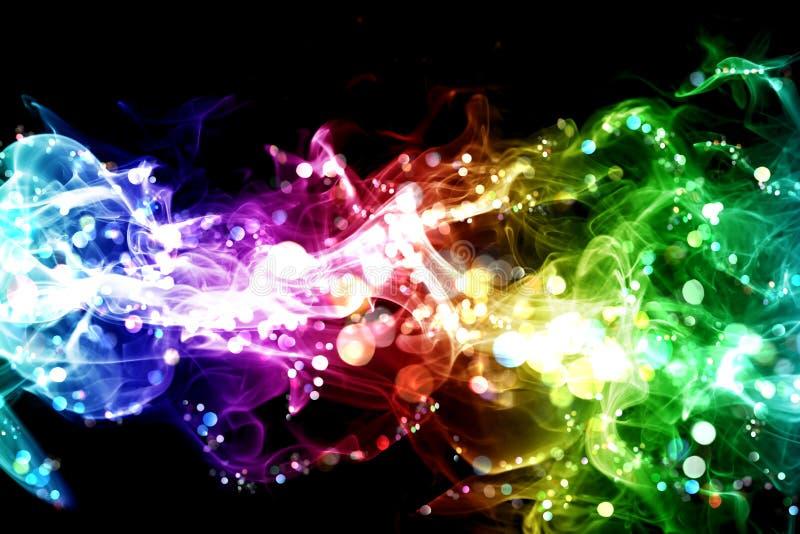 Smoke and lights. Colorful smoke with lights over black