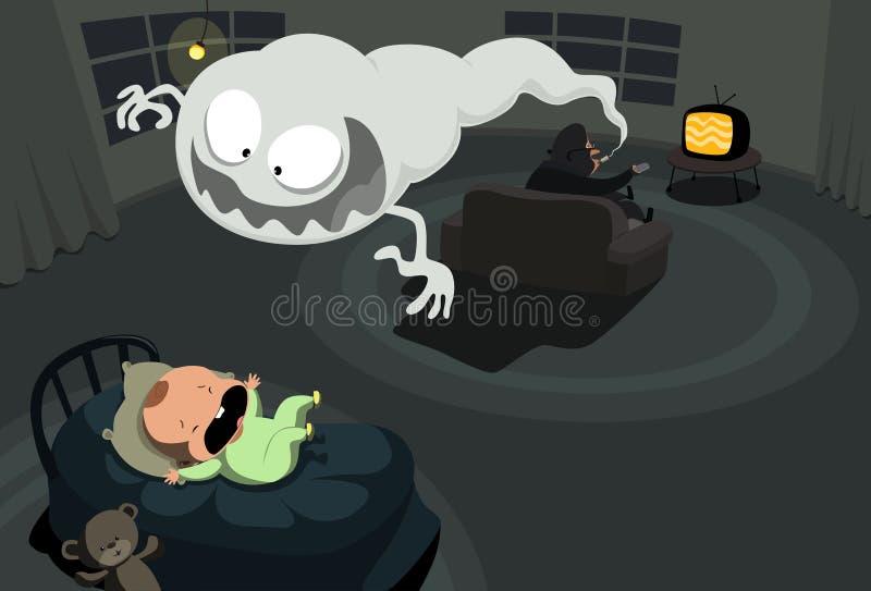 Download Smoke Monster Haunting Little Baby Stock Vector - Image: 13563378