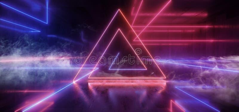 Smoke Neon Futuristic Lights Glowing Triangle Sci Fi Retro Abstract Shaped Lasers Purple Blue Vibrant Column Concrete Grunge royalty free illustration