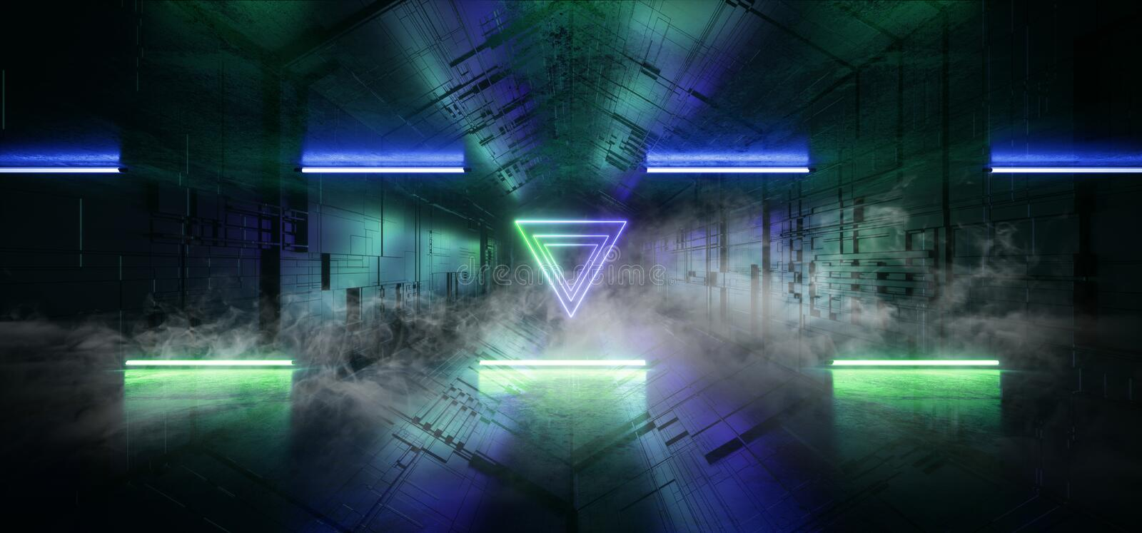 Smoke Neon Glowing Laser Blue Green Triangle Sci Fi Futuristic  Technology Schematic Motherboard Matrix Chip Reflective Gate. Portal Vibrant Tunnel Corridor vector illustration