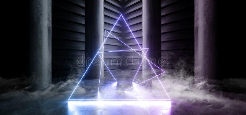 Smoke Neon Laser Fluorescent Purple Blue Futuristic Column Garage Showroom Tunnel Corridor Concrete Metal Grunge Reflective Empty. Space White Glow Showcase royalty free illustration