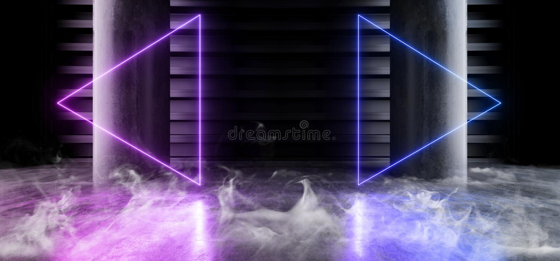 Smoke Neon Laser Fluorescent Purple Blue Futuristic Column Garage Showroom Tunnel Corridor Concrete Metal Grunge Reflective Empty. Space White Glow Showcase stock illustration