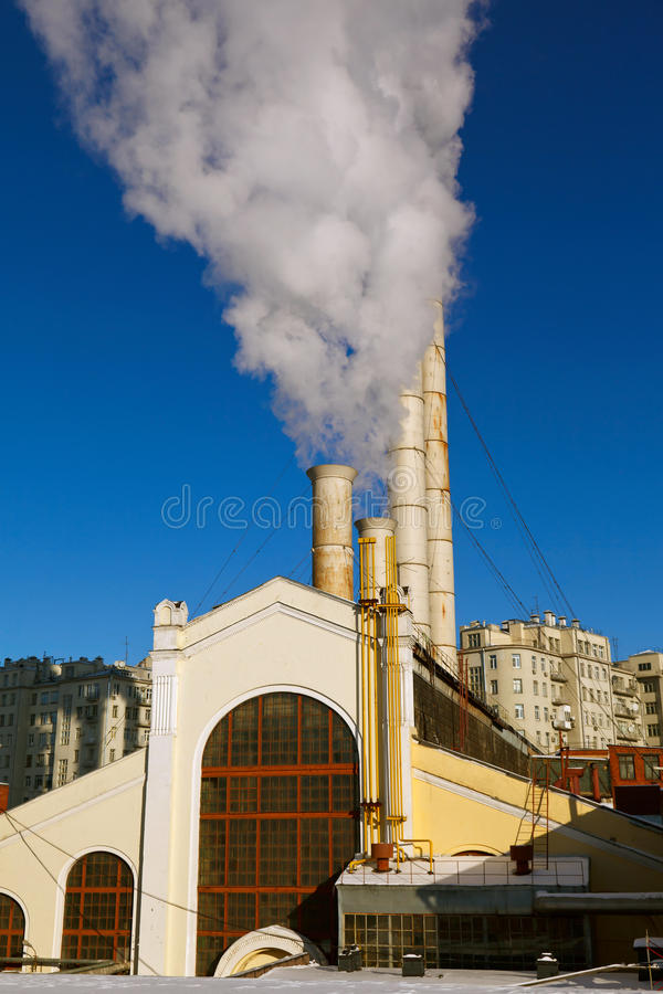 The Smoke Of The Old Power Plant Stock Photos