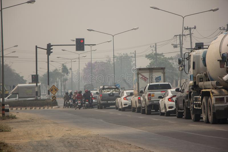 Smoke and Pollution Haze on highway road stock image
