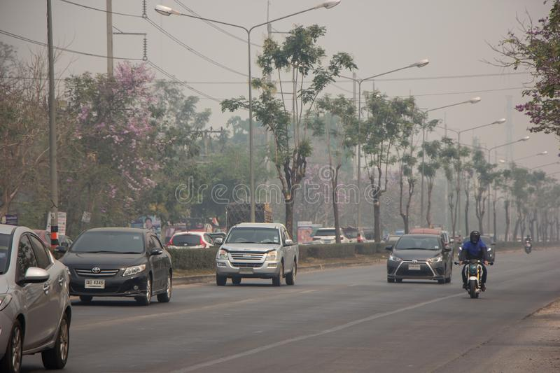 Smoke and Pollution Haze on highway road royalty free stock image