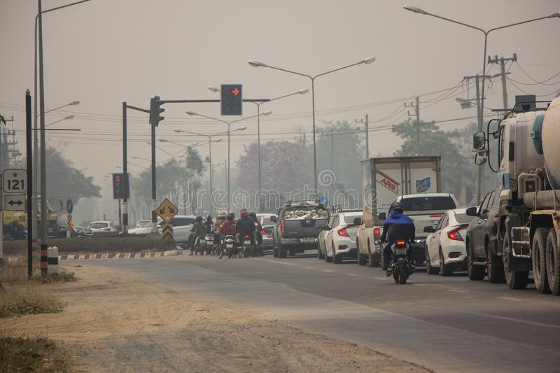 Smoke and Pollution Haze on highway road royalty free stock photography