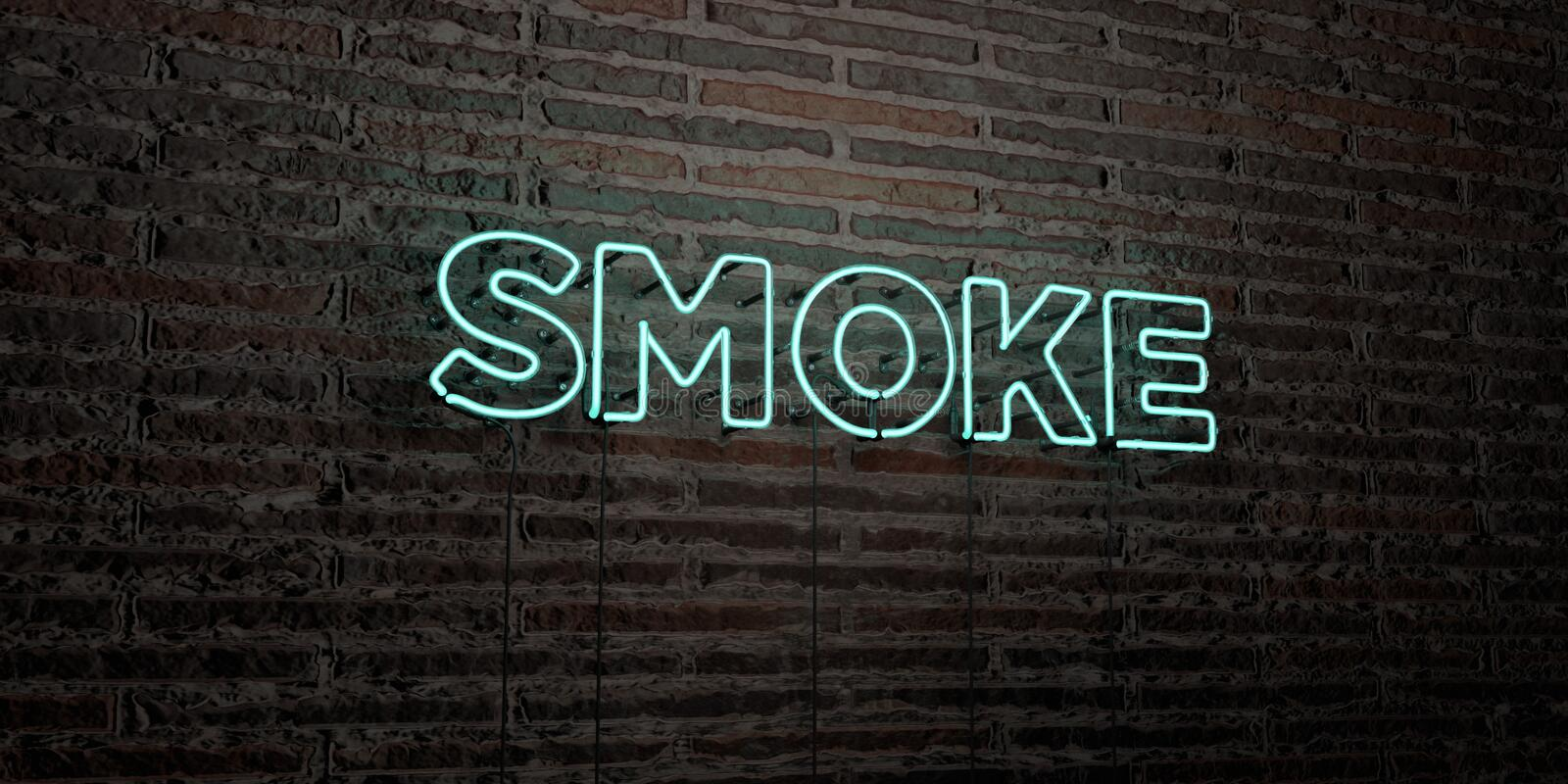 SMOKE -Realistic Neon Sign on Brick Wall background - 3D rendered royalty free stock image stock illustration