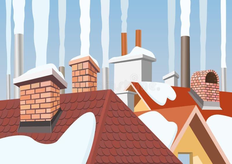 Smoke rising from the chimneys royalty free illustration