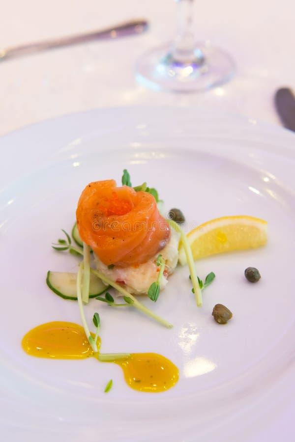 Smoke salmon in mash potato salad royalty free stock photos