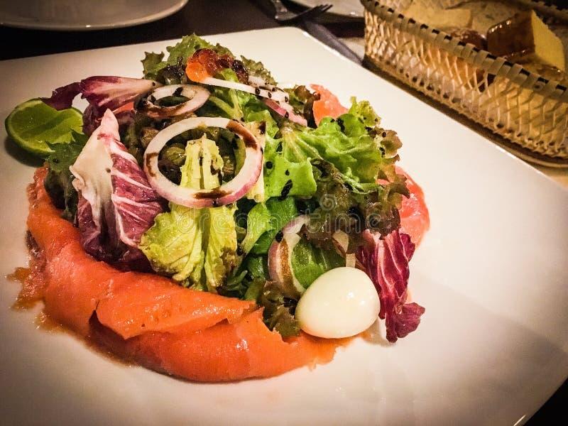 Smoke salmon salad royalty free stock image