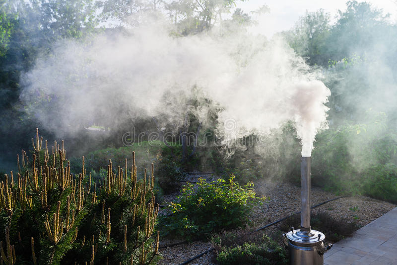 Smoke From Samovar's Chimney In Winter. Russia. Stock ...