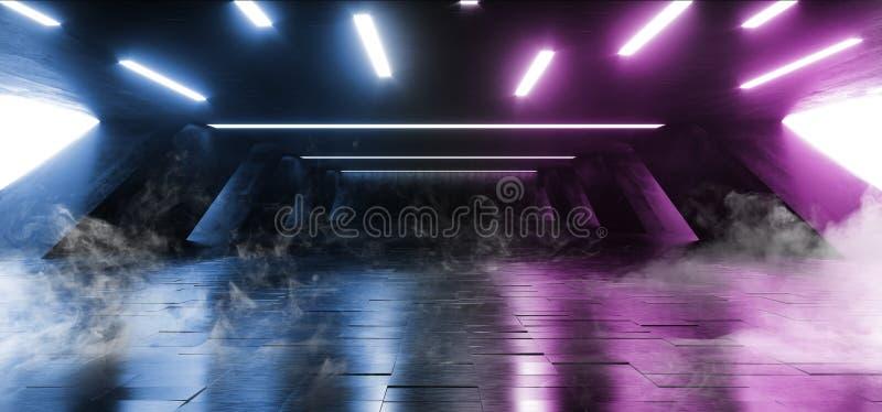 Smoke Sci Fi Fluorescent Vibrant Neon Glowing Purple Blue Pink Lights In Huge Dark Cement Concrete  Grunge Underground  Garage. Smoke Sci Fi Fluorescent Vibrant stock illustration