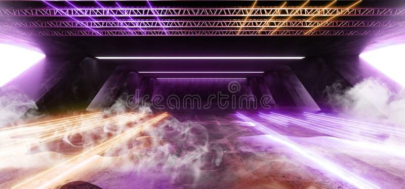 Smoke Sci Fi Fluorescent Vibrant Neon Glowing Purple Yellow Pink Lights In Huge Dark Cement Concrete  Grunge Underground  Garage. Smoke Sci Fi Fluorescent stock illustration