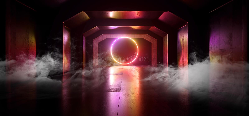 Smoke Sci Fi Future Neon Purple Red Orange Glowing Circle Shape Empty Dark Spaceship Tunnel Underground Vibrant Lasers Shape stock illustration