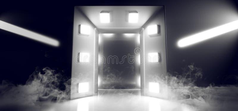 Smoke Sci Fi Future Steam Mist Fog Studio Neon Led Laser Weiße Lichter leuchten auf Beton Bau Cyber-Hallway-Tunnel Garage stock abbildung