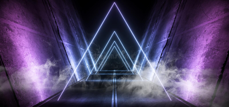 Smoke Sci Fi Futuristic Asphalt Cement Road Double Lined Concrete Walls Underground Dark Night Car Show Neon Laser Triangles. Glowing Purple Blue Arc Virtual stock illustration