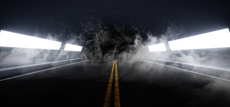 Smoke Sci Fi Futuristic Asphalt Tunnel Corridor Garage Cement Road Double Lined Concrete Walls Underground Dark Night Car Show. Neon Glowing Arc Stage Showroom vector illustration