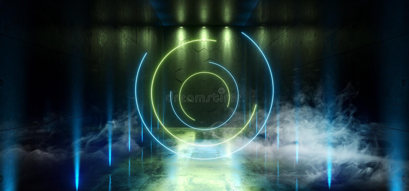 Smoke Sci Fi Futuristic Laser Hall Neon Tunnel Path Track Gate Entrance Spotlights Glowing Green Blue Vibrant Colors X Shaped vector illustration