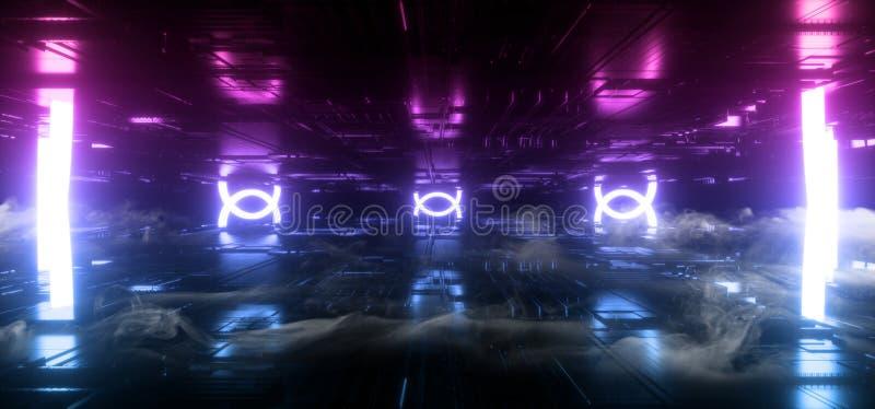 Smoke Sci Fi Futuristic Oval Circle Neon Led Lights Purple Blue Vibrant Glowing Schematic Chip Texture Reflective Dark Empty Room. Underground Stage Tunnel stock illustration