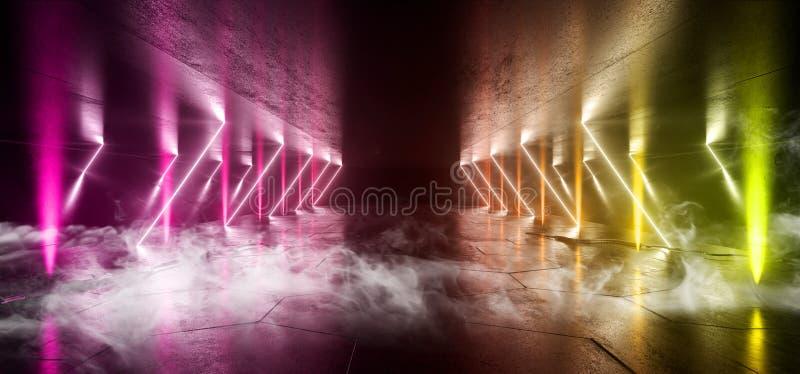Smoke Sci Fi Lines Arc Spaceship Glowing Neon Pink Yellow Futuristic Virtual Grunge Concrete Cement Reflective Dark Night Tunnel. Corridor Hallway Gate Ceiling stock illustration