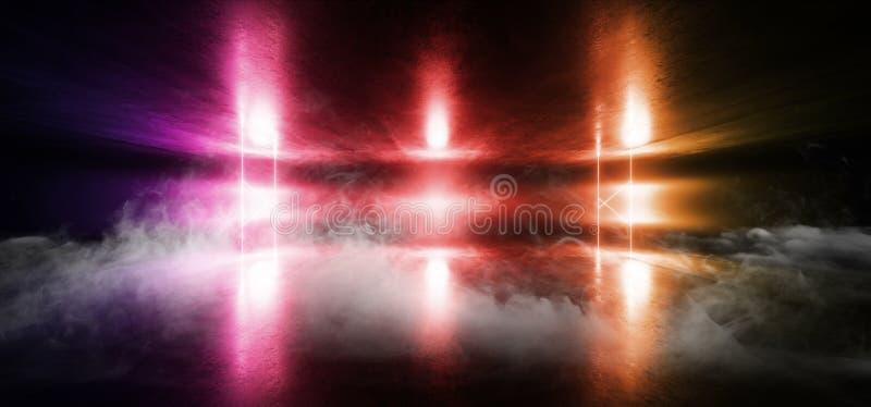 Smoke Sci Fi Neon Glowing Light Vibrant Red Purple Orange Stage NIght Club Background Grunge Concrete Dark Tunnel Hall Corridor. Garage Spaceship Reflective royalty free illustration