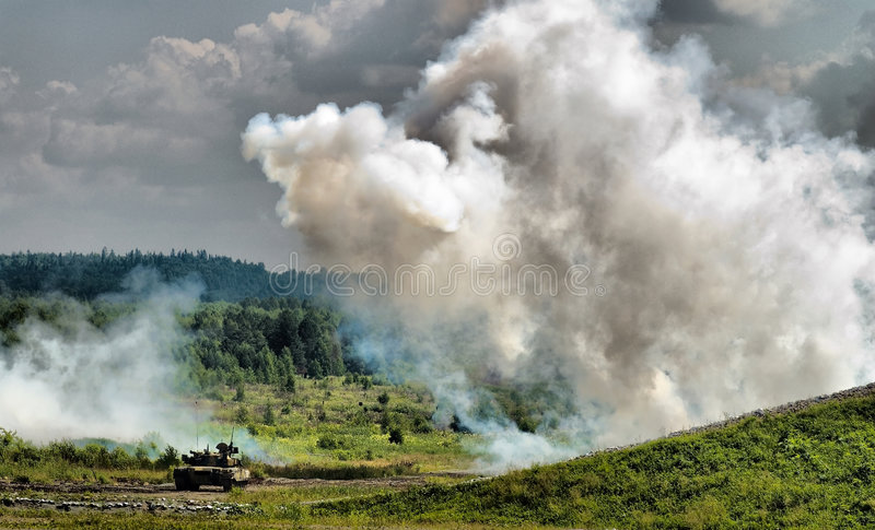 Download Smoke Screen And Tank Royalty Free Stock Photo - Image: 9048835