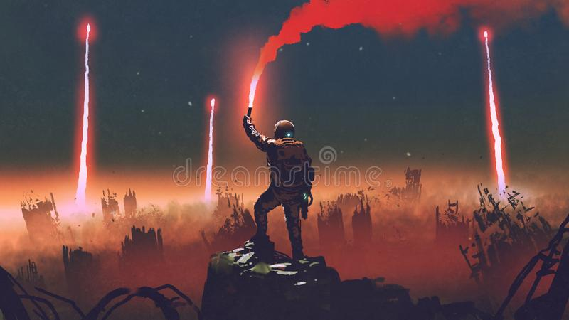 Smoke signal of surveyors. Man holds a red smoke flare up in the air and standing against the apocalypse world, digital art style, illustration painting stock illustration