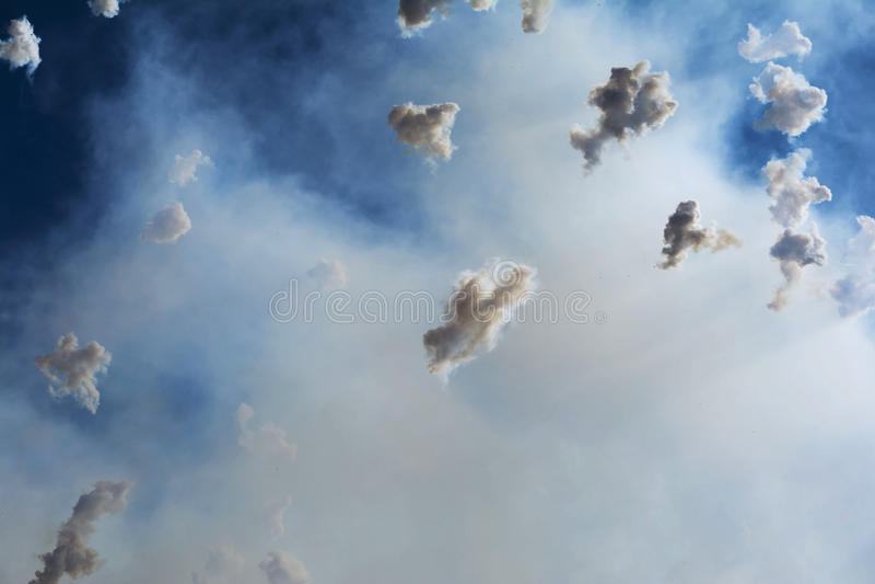 Smoke in the sky during Mascleta, Valencia stock photography