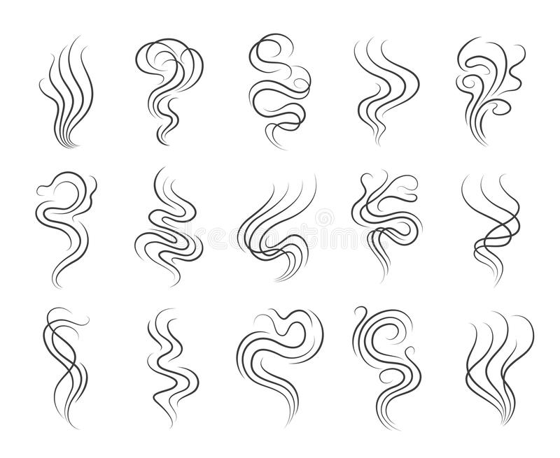 Smoke smell line icons. Smoking and steaming vector signs stock illustration